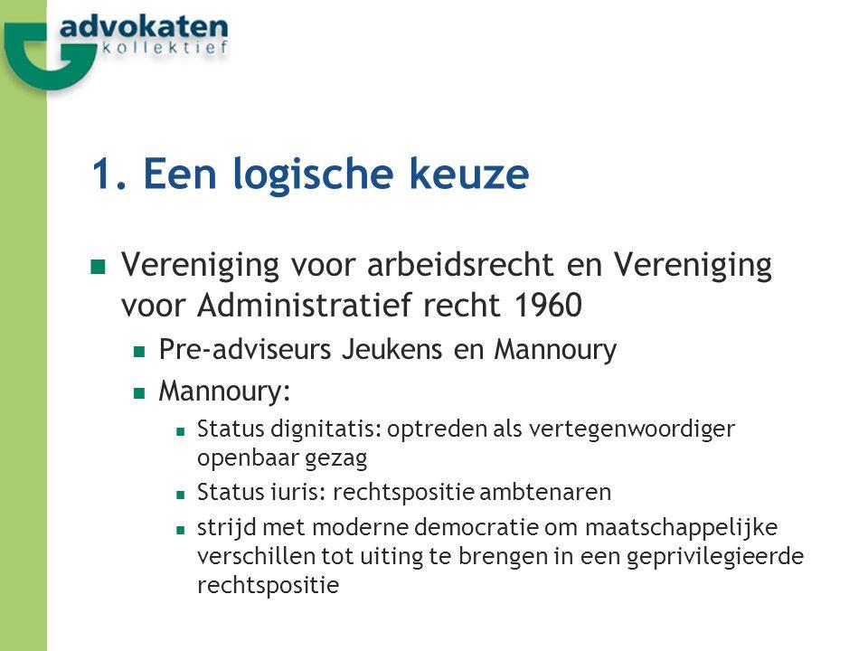 1. Een logische keuze Vereniging voor arbeidsrecht en Vereniging voor Administratief recht 1960. Pre-adviseurs Jeukens en Mannoury.