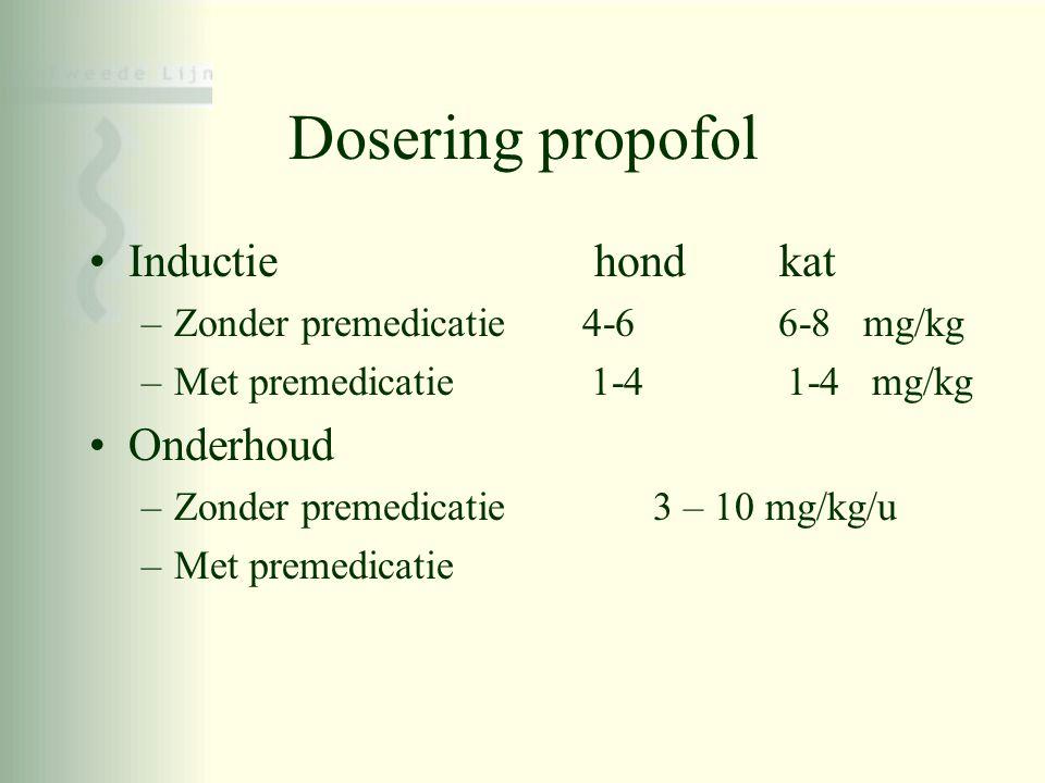 Dosering propofol Inductie hond kat Onderhoud