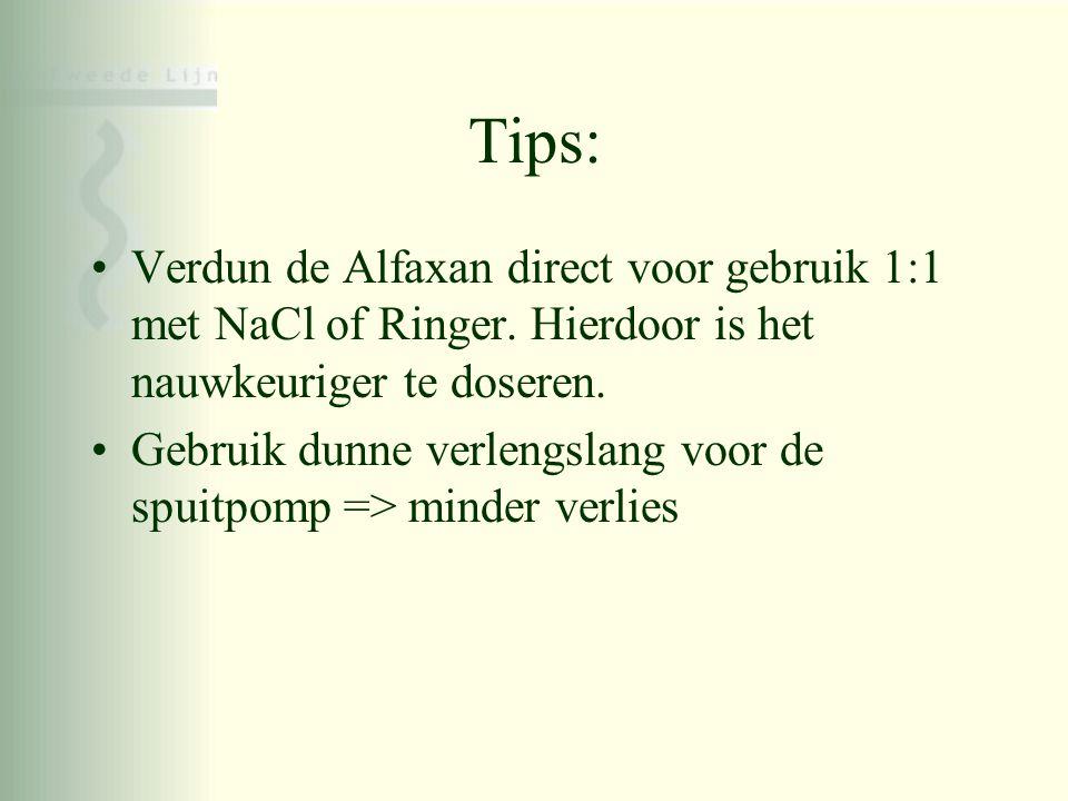 Tips: Verdun de Alfaxan direct voor gebruik 1:1 met NaCl of Ringer. Hierdoor is het nauwkeuriger te doseren.