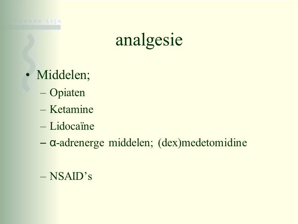 analgesie Middelen; Opiaten Ketamine Lidocaïne