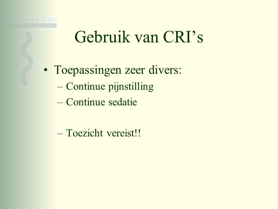 Gebruik van CRI's Toepassingen zeer divers: Continue pijnstilling