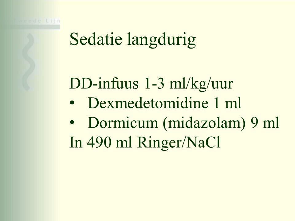 Sedatie langdurig DD-infuus 1-3 ml/kg/uur Dexmedetomidine 1 ml