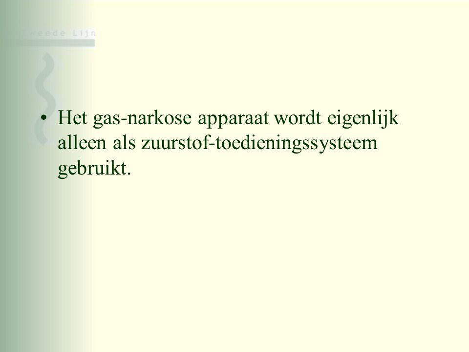 Het gas-narkose apparaat wordt eigenlijk alleen als zuurstof-toedieningssysteem gebruikt.