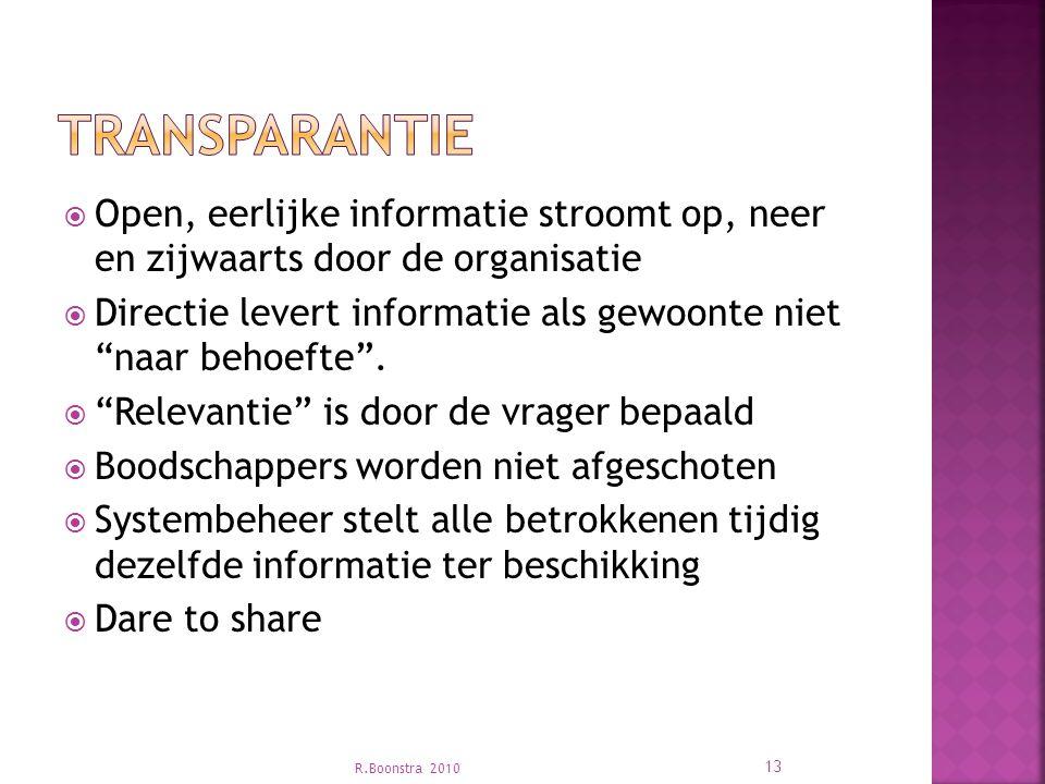 Transparantie Open, eerlijke informatie stroomt op, neer en zijwaarts door de organisatie.
