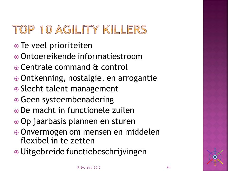 Top 10 Agility killers Te veel prioriteiten