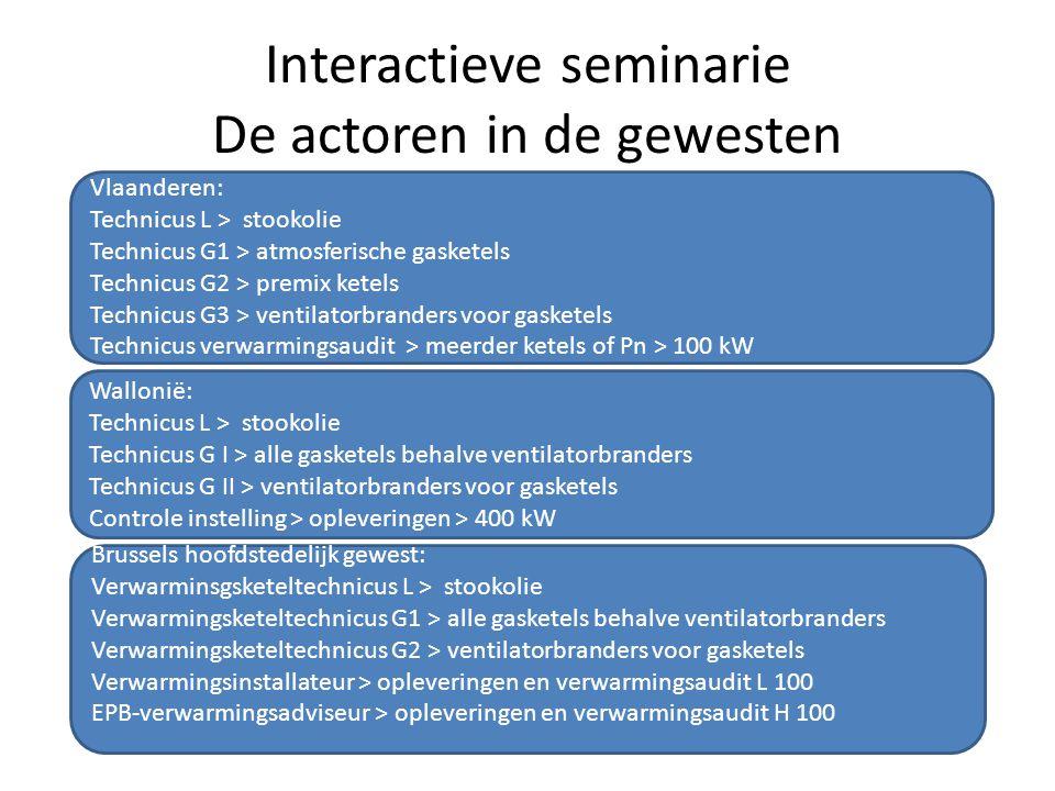 Interactieve seminarie De actoren in de gewesten
