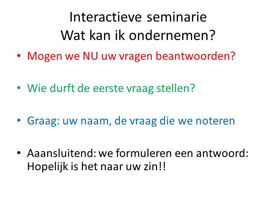 Interactieve seminarie Wat kan ik ondernemen
