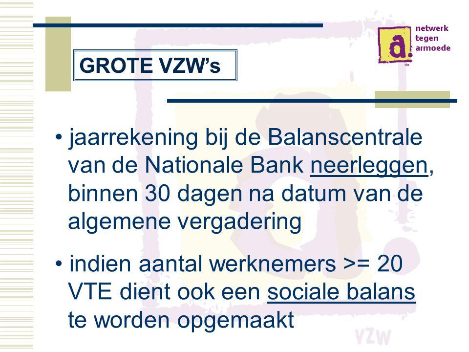 GROTE VZW's jaarrekening bij de Balanscentrale van de Nationale Bank neerleggen, binnen 30 dagen na datum van de algemene vergadering.