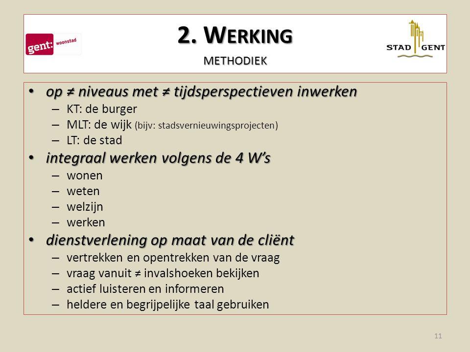 2. Werking methodiek op ≠ niveaus met ≠ tijdsperspectieven inwerken