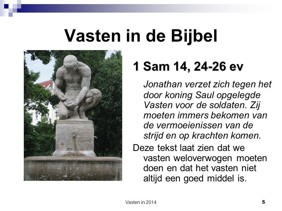 Vasten in de Bijbel 1 Sam 14, 24-26 ev