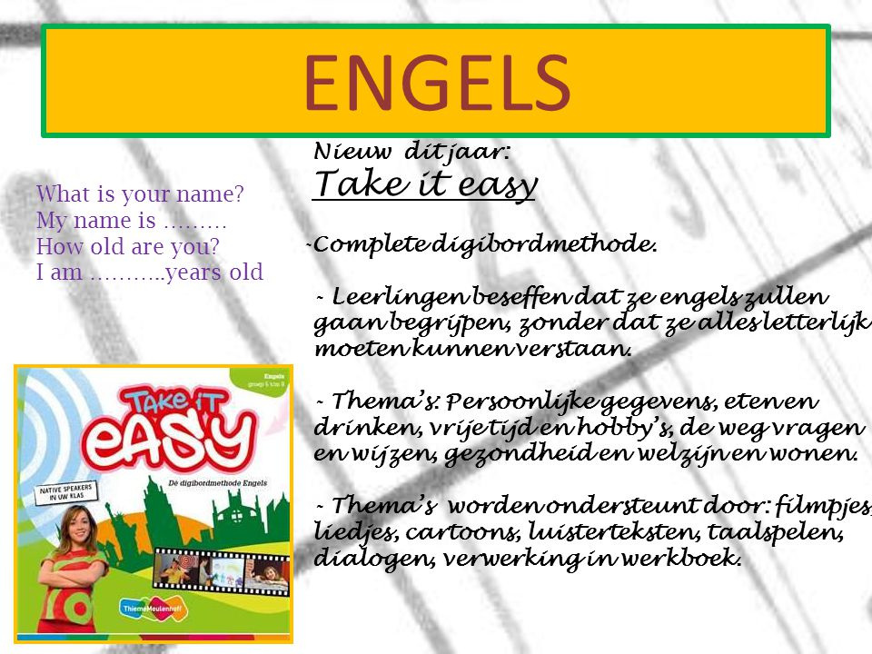 Engels Take it easy Nieuw dit jaar: What is your name