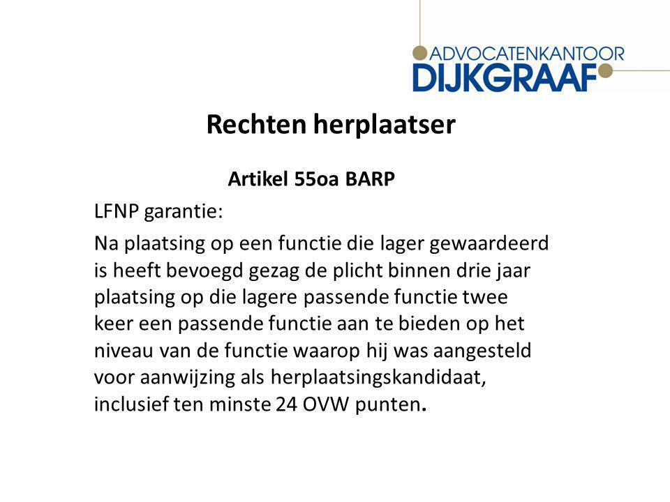 Rechten herplaatser Artikel 55oa BARP LFNP garantie: