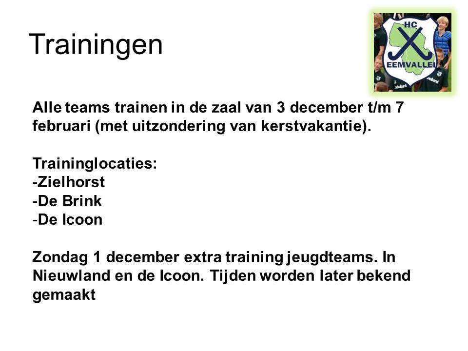 Trainingen Alle teams trainen in de zaal van 3 december t/m 7 februari (met uitzondering van kerstvakantie).