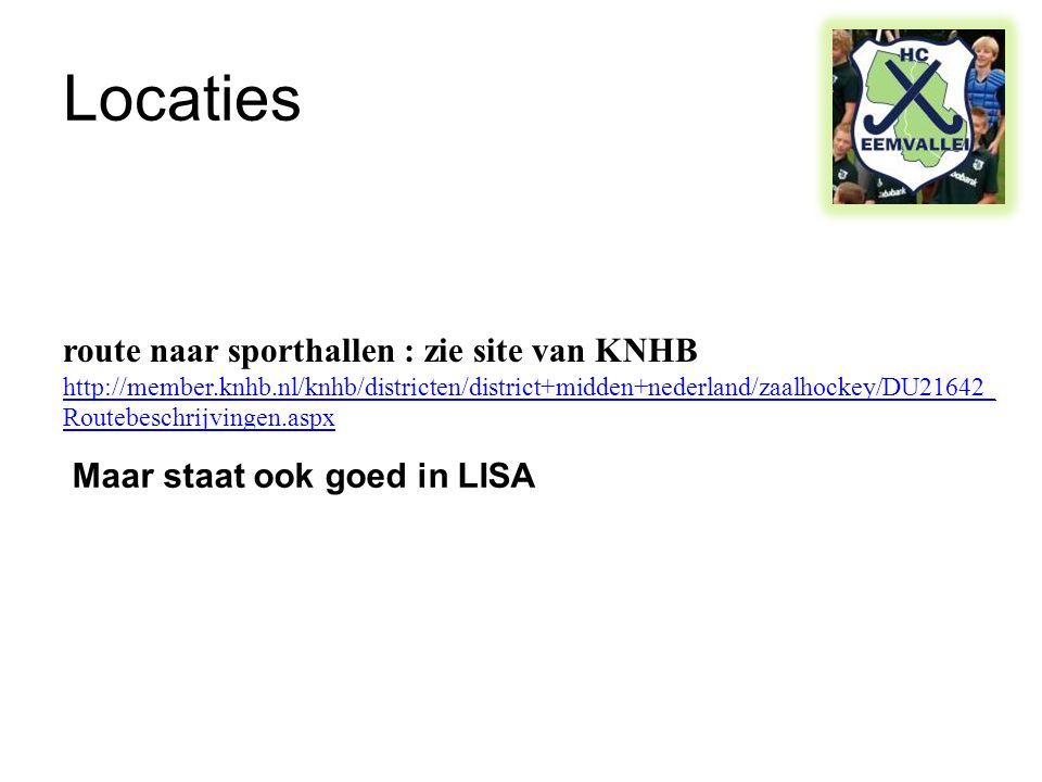 Locaties route naar sporthallen : zie site van KNHB