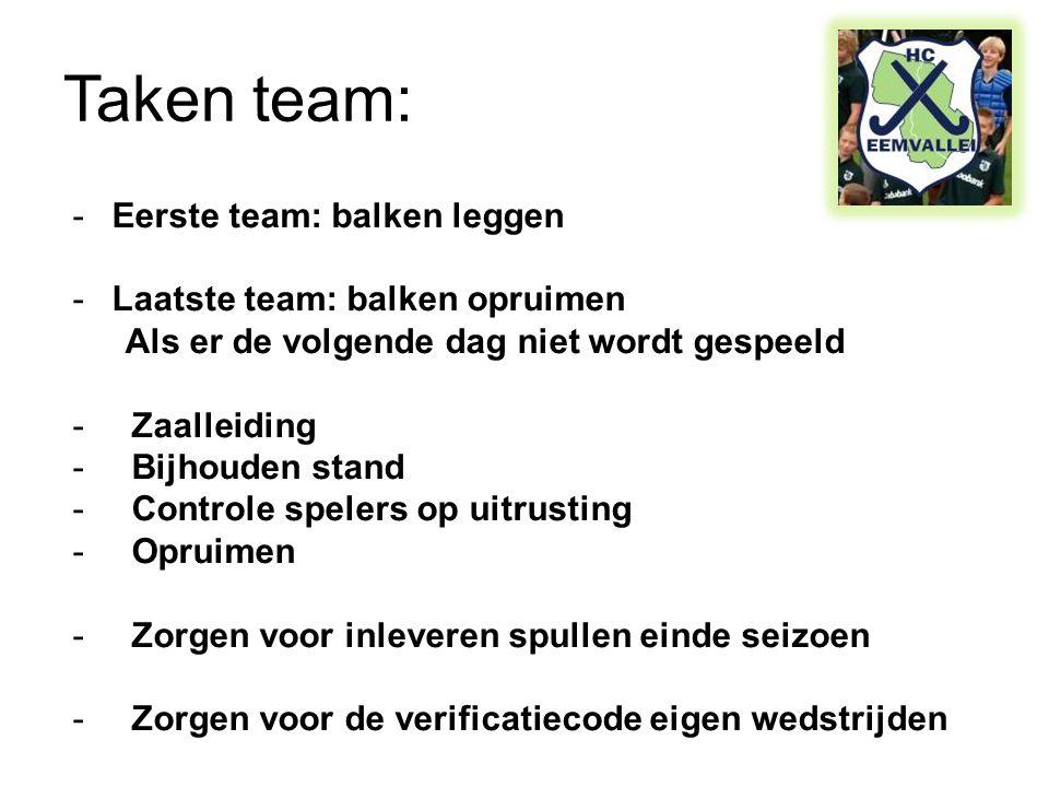 Taken team: Eerste team: balken leggen Laatste team: balken opruimen