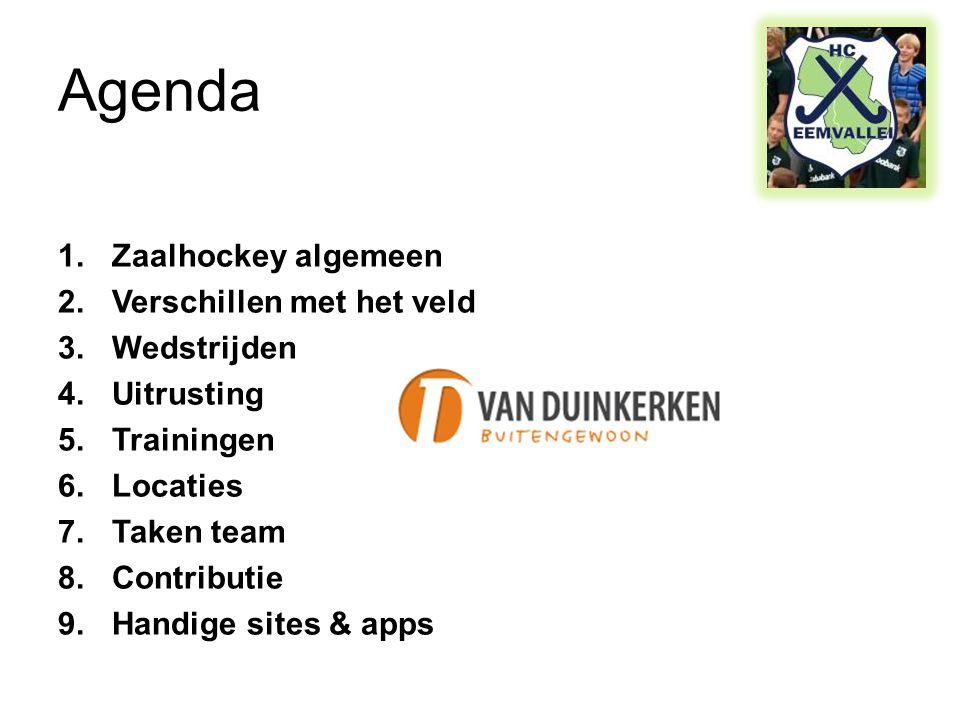 Agenda Zaalhockey algemeen Verschillen met het veld Wedstrijden
