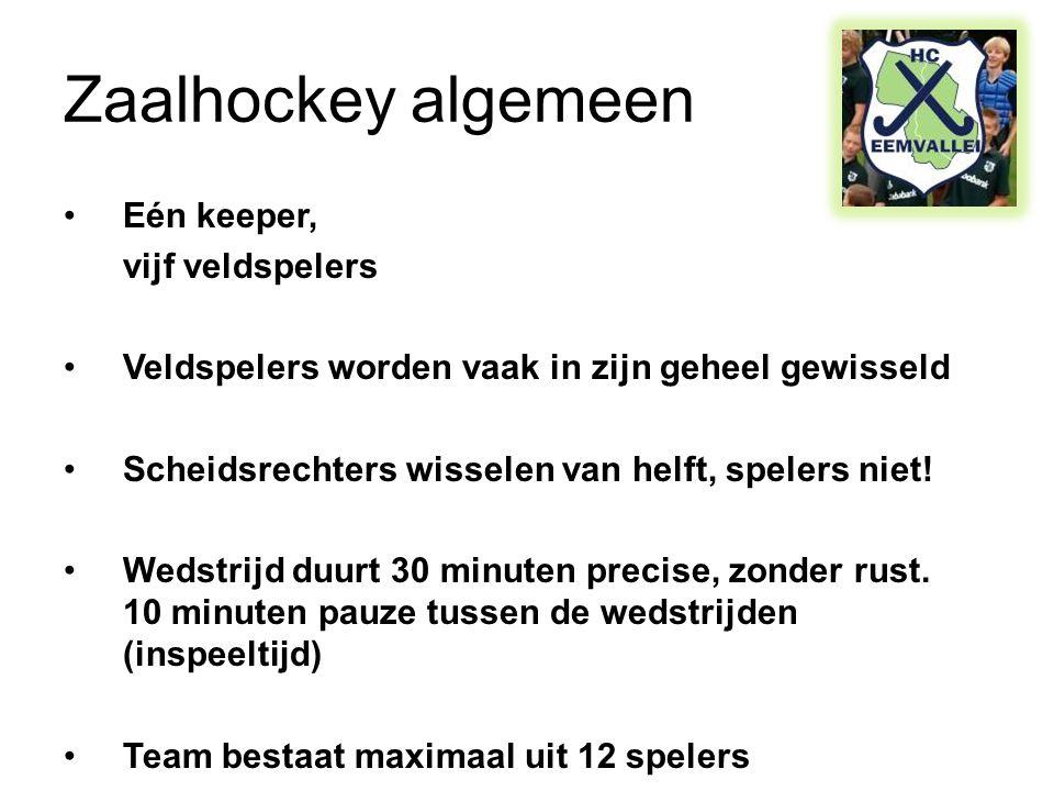 Zaalhockey algemeen Eén keeper, vijf veldspelers