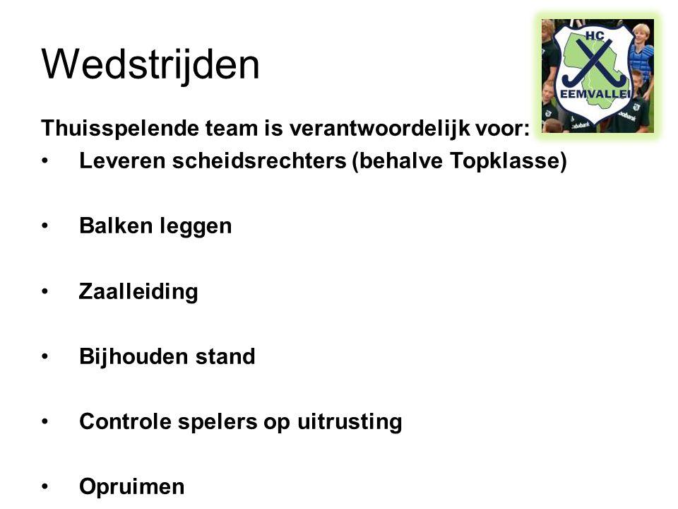 Wedstrijden Thuisspelende team is verantwoordelijk voor: