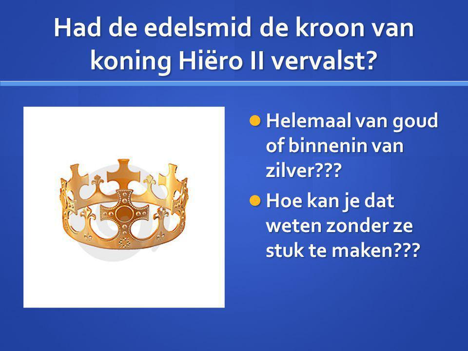 Had de edelsmid de kroon van koning Hiëro II vervalst