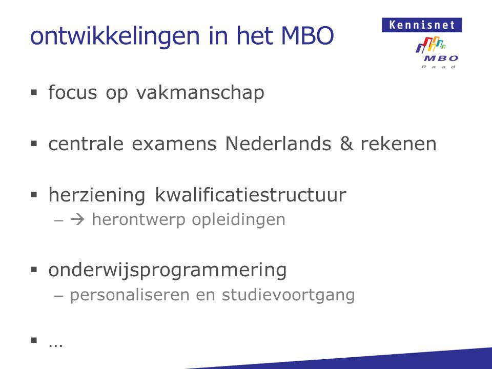 ontwikkelingen in het MBO