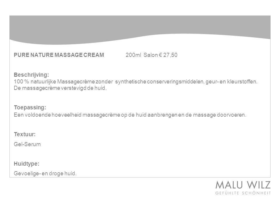 PURE NATURE MASSAGE CREAM 200ml Salon € 27,50