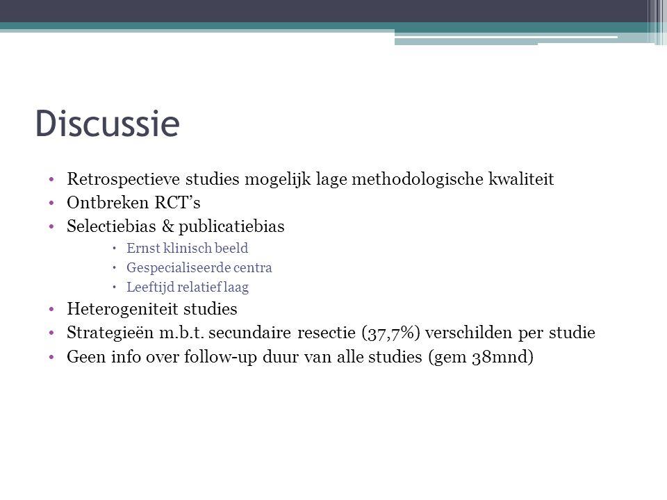 Discussie Retrospectieve studies mogelijk lage methodologische kwaliteit. Ontbreken RCT's. Selectiebias & publicatiebias.