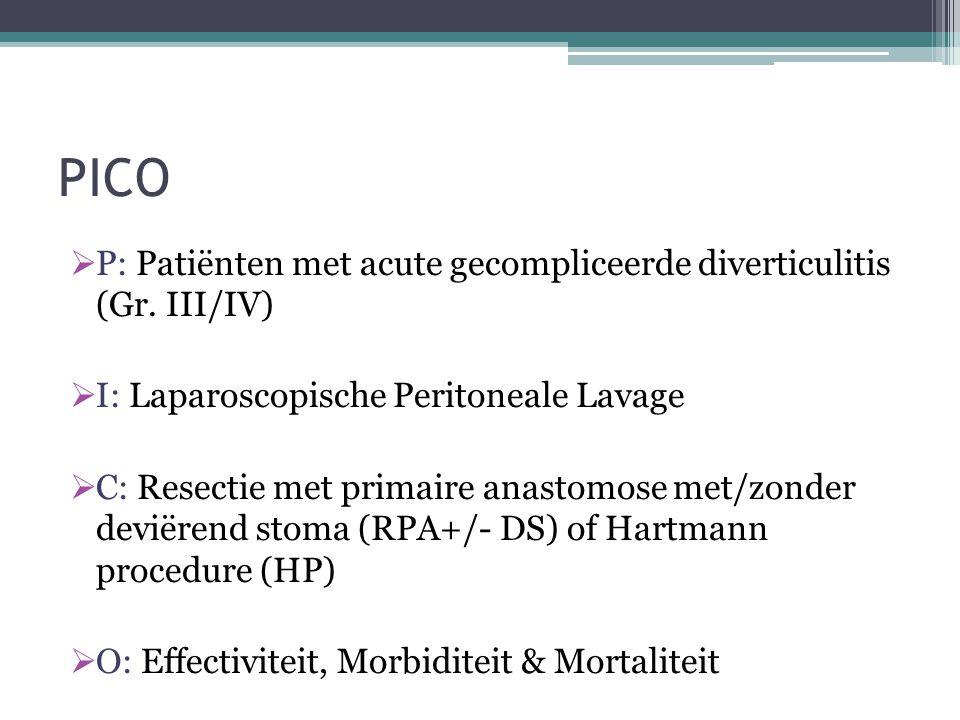 PICO P: Patiënten met acute gecompliceerde diverticulitis (Gr. III/IV)