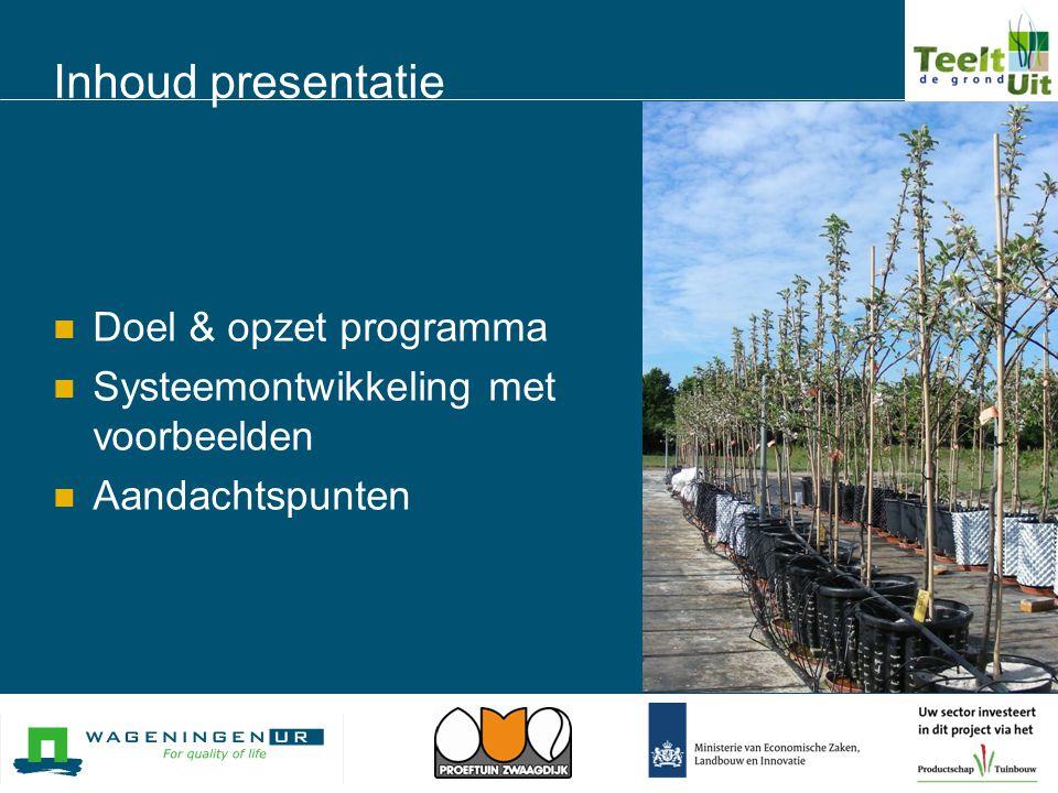 Inhoud presentatie Doel & opzet programma
