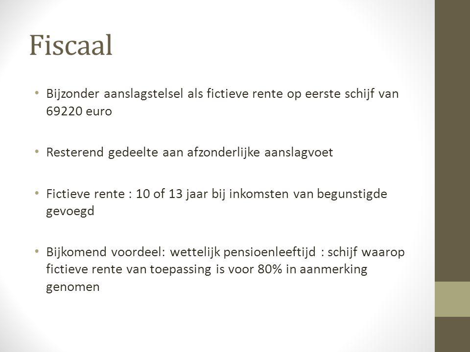 Fiscaal Bijzonder aanslagstelsel als fictieve rente op eerste schijf van 69220 euro. Resterend gedeelte aan afzonderlijke aanslagvoet.