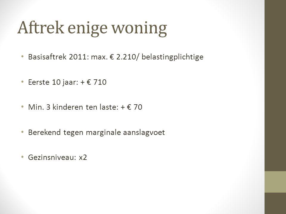 Aftrek enige woning Basisaftrek 2011: max. € 2.210/ belastingplichtige