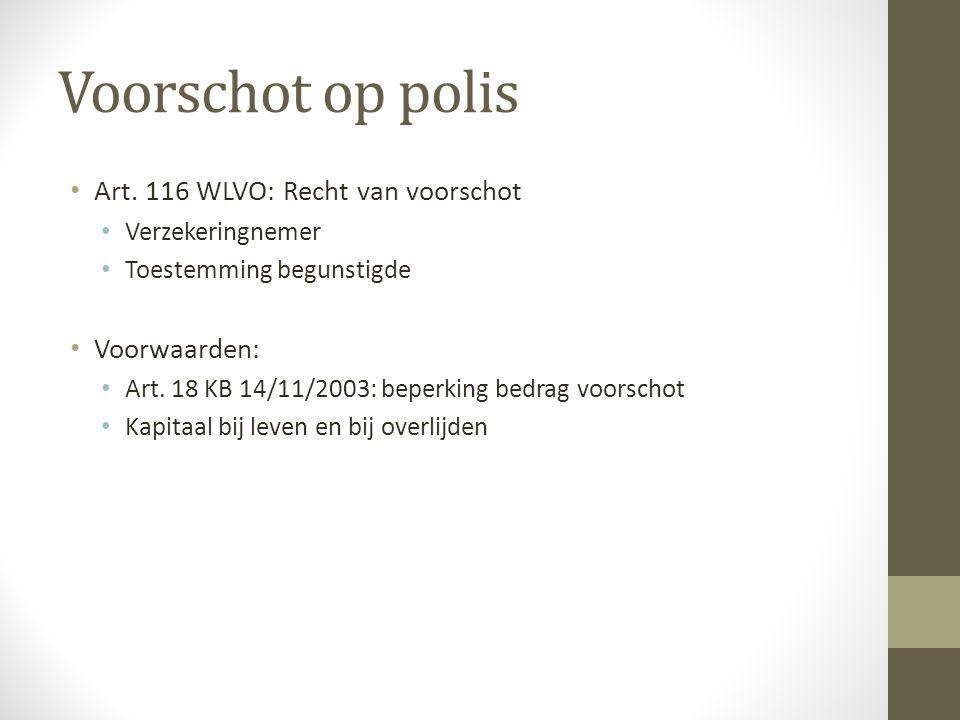 Voorschot op polis Art. 116 WLVO: Recht van voorschot Voorwaarden: