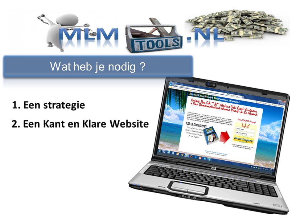 Wat heb je nodig 1. Een strategie 2. Een Kant en Klare Website