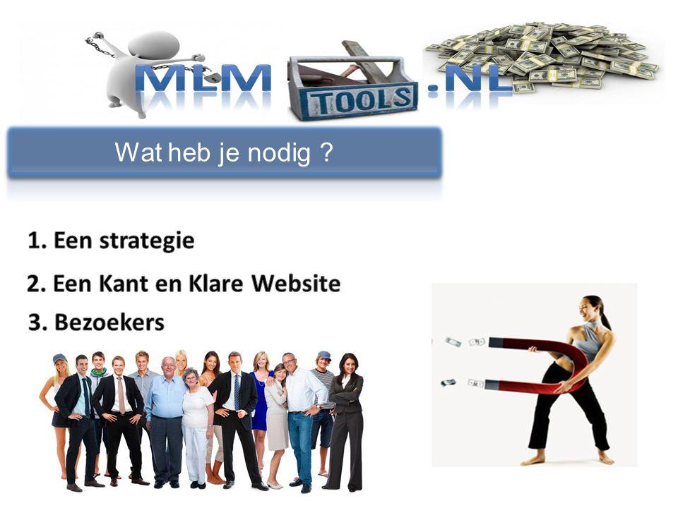 Wat heb je nodig 1. Een strategie 2. Een Kant en Klare Website 3. Bezoekers