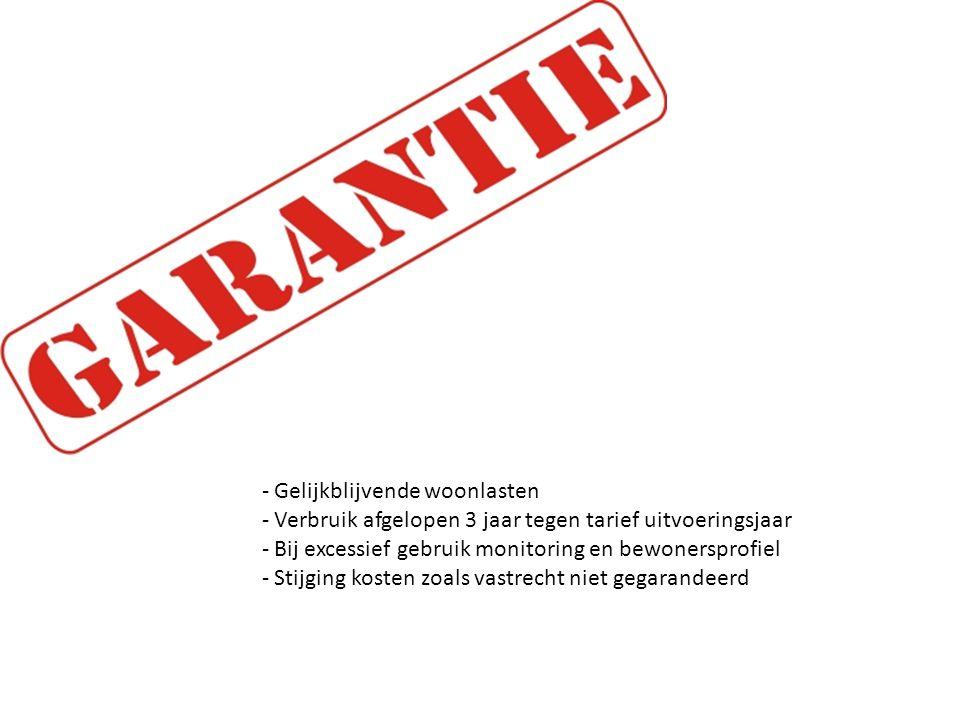 GARANTIE Gelijkblijvende woonlasten. Verbruik afgelopen 3 jaar tegen tarief uitvoeringsjaar. Bij excessief gebruik monitoring en bewonersprofiel.