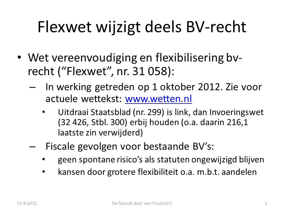 Flexwet wijzigt deels BV-recht