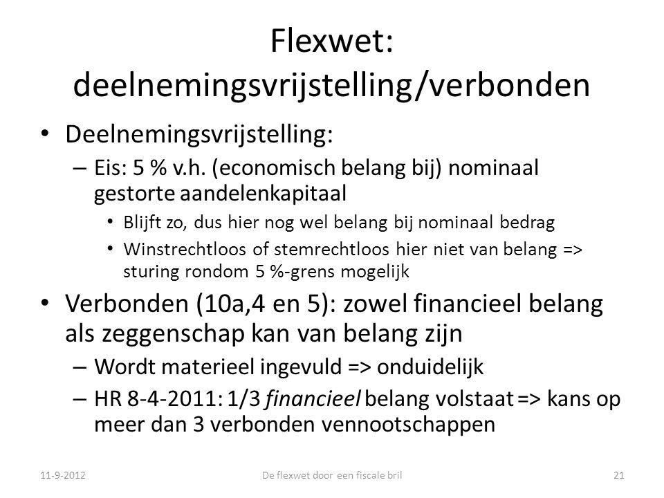 Flexwet: deelnemingsvrijstelling/verbonden