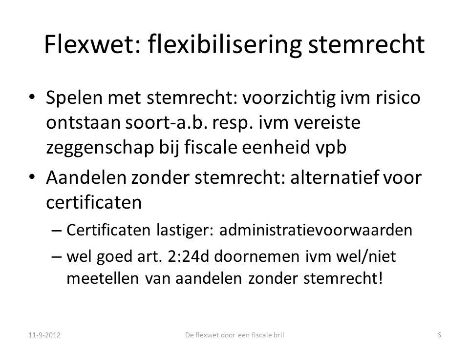 Flexwet: flexibilisering stemrecht