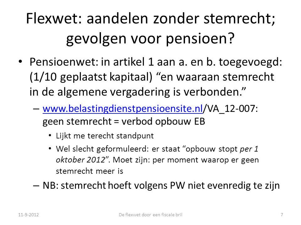 Flexwet: aandelen zonder stemrecht; gevolgen voor pensioen