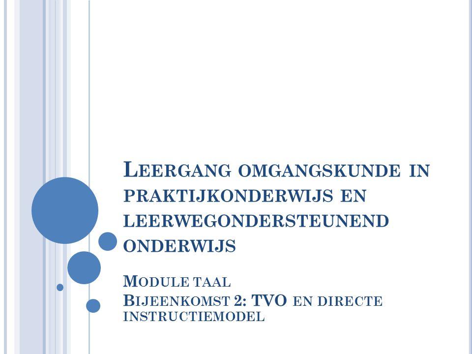 Module taal Bijeenkomst 2: TVO en directe instructiemodel