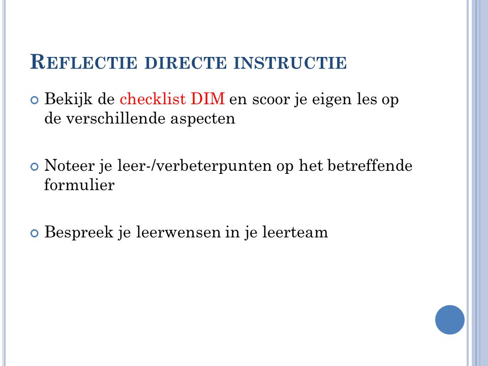 Reflectie directe instructie