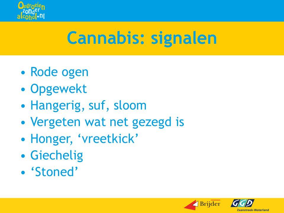 Cannabis: signalen Rode ogen Opgewekt Hangerig, suf, sloom