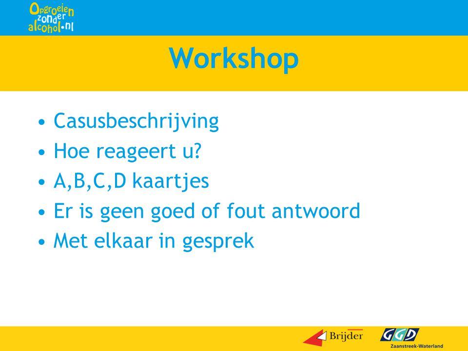 Workshop Casusbeschrijving Hoe reageert u A,B,C,D kaartjes
