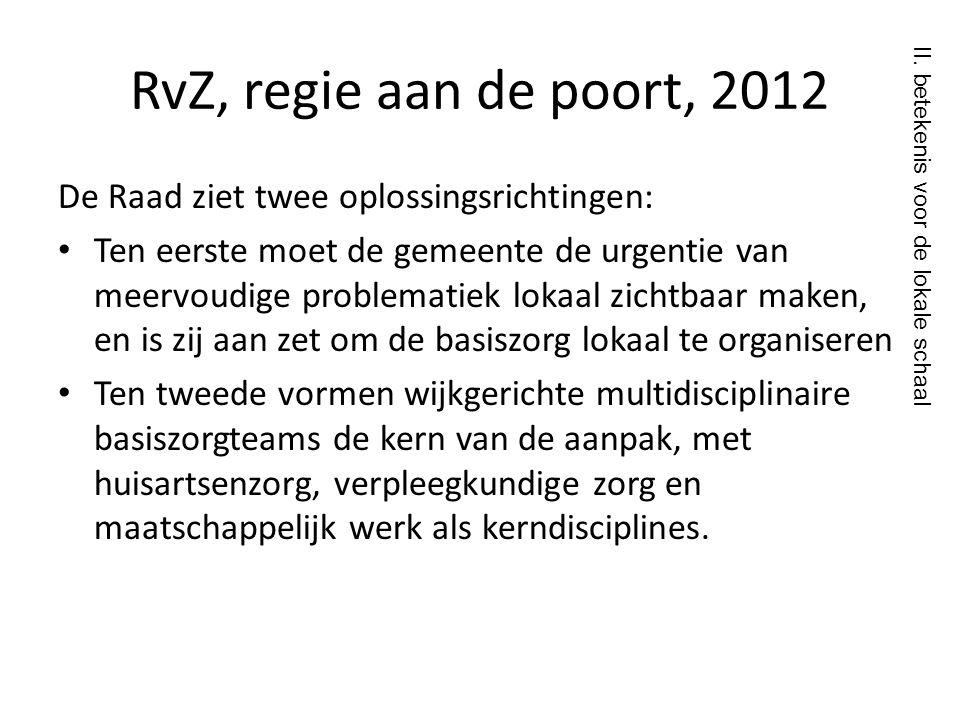 RvZ, regie aan de poort, 2012 De Raad ziet twee oplossingsrichtingen: