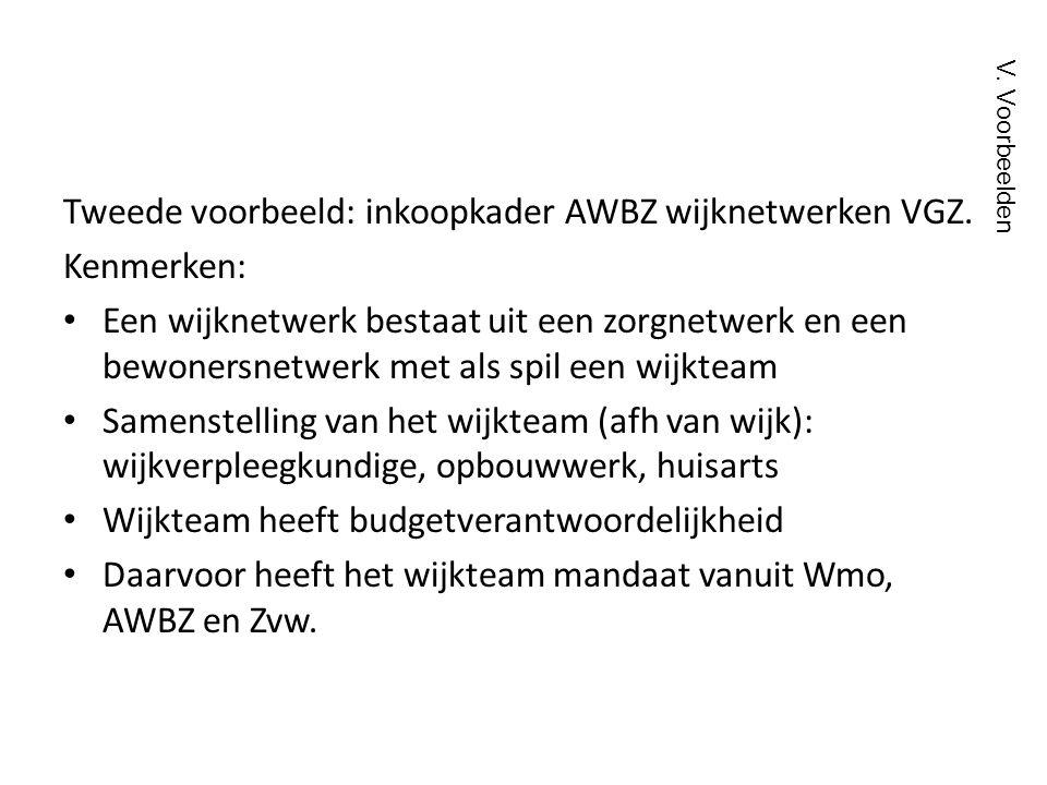 Tweede voorbeeld: inkoopkader AWBZ wijknetwerken VGZ. Kenmerken: