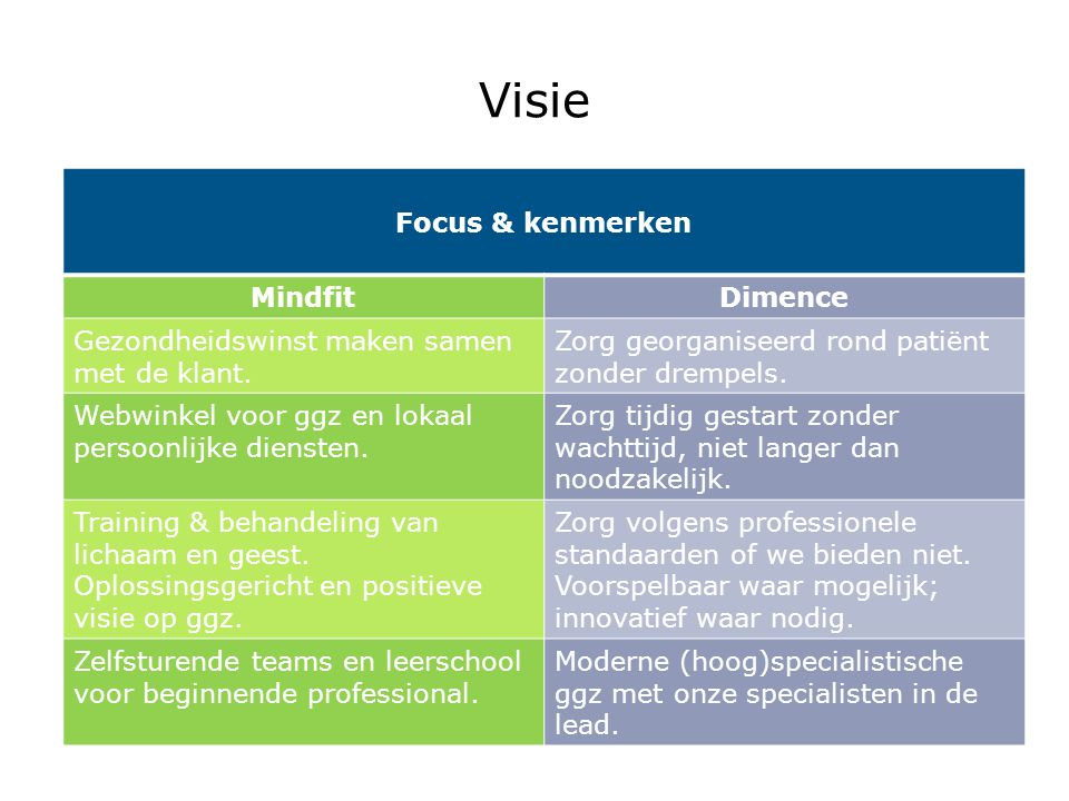 Visie Focus & kenmerken Mindfit Dimence