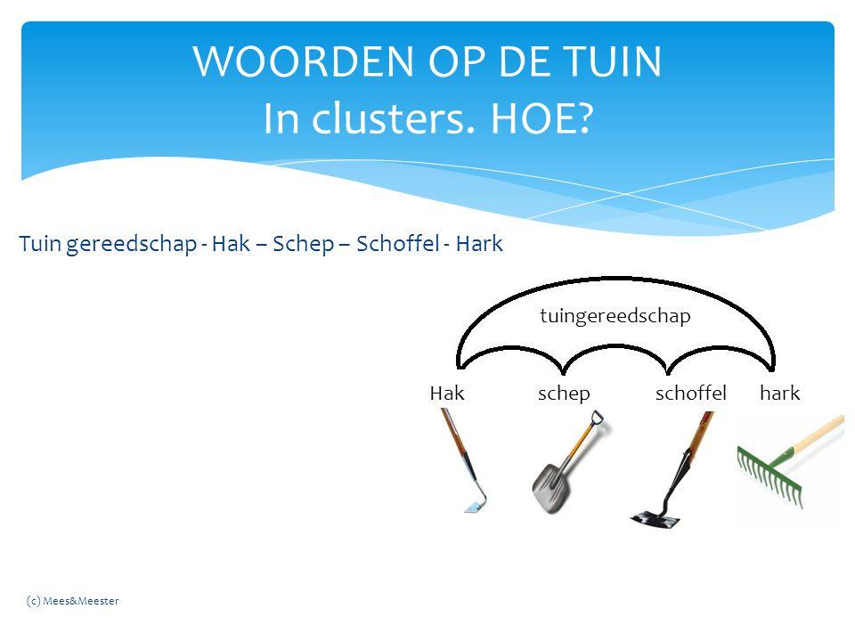 WOORDEN OP DE TUIN In clusters. HOE