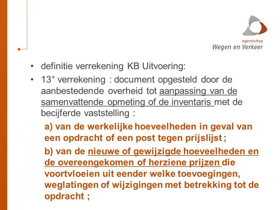 definitie verrekening KB Uitvoering: