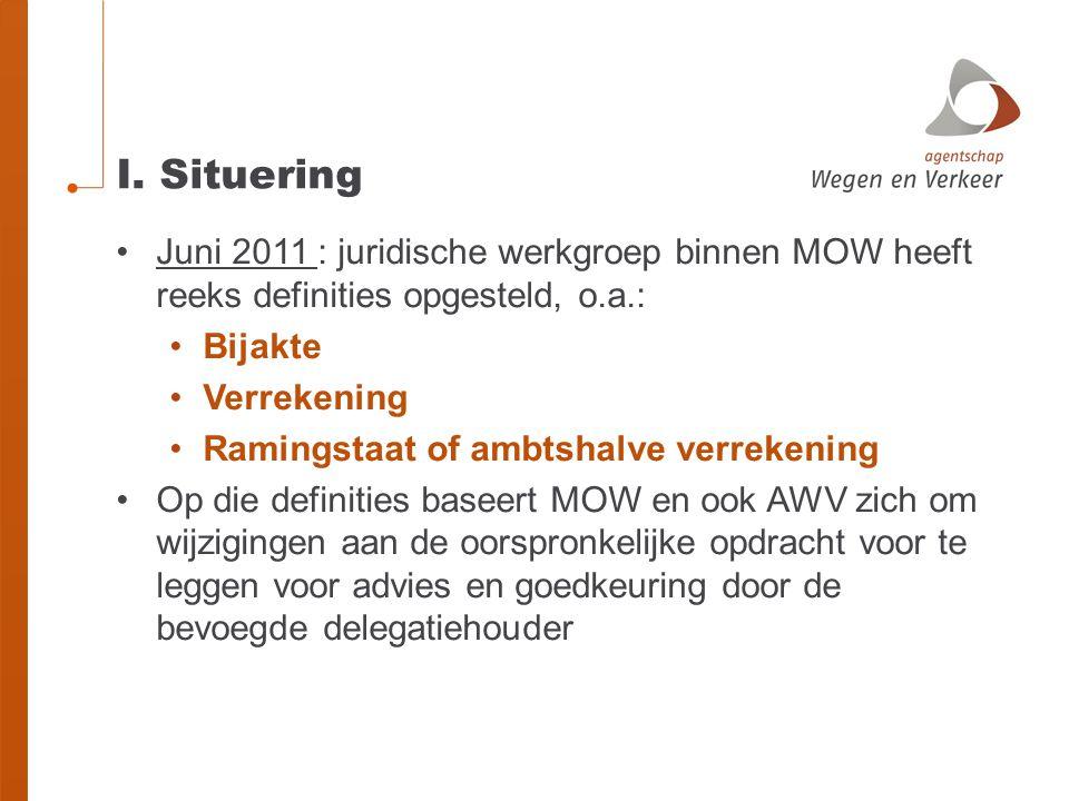 I. Situering Juni 2011 : juridische werkgroep binnen MOW heeft reeks definities opgesteld, o.a.: Bijakte.