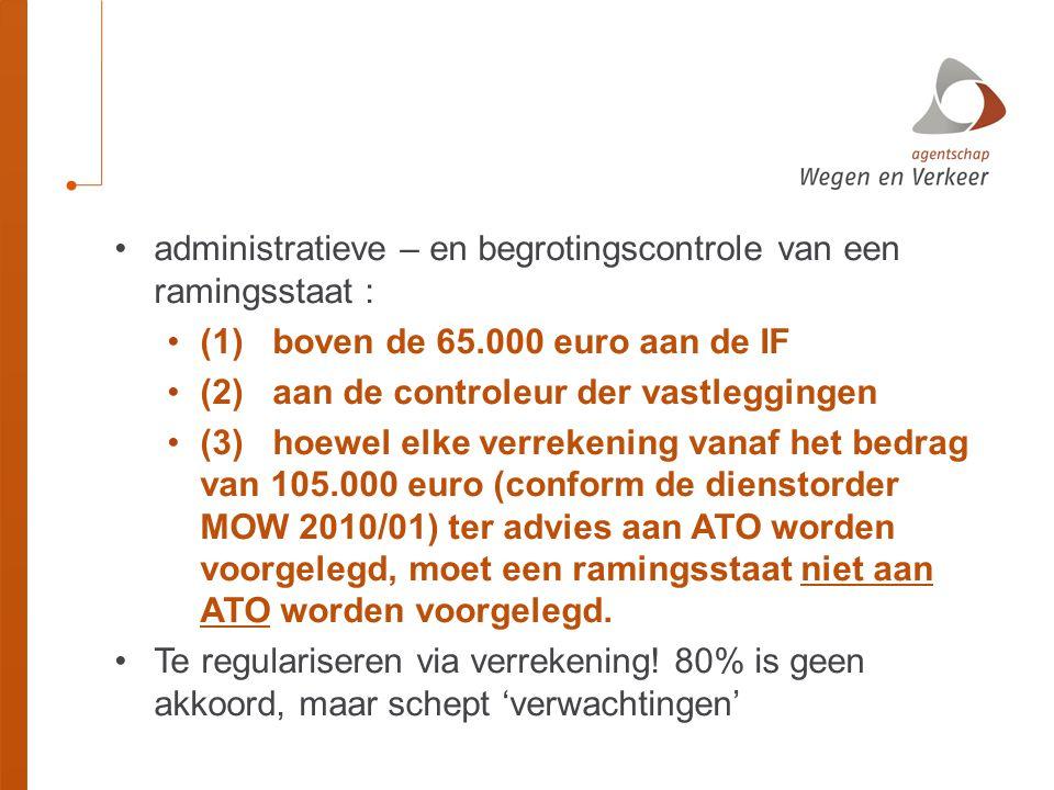 administratieve – en begrotingscontrole van een ramingsstaat :