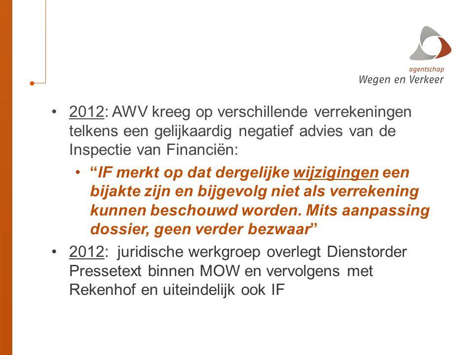 2012: AWV kreeg op verschillende verrekeningen telkens een gelijkaardig negatief advies van de Inspectie van Financiën: